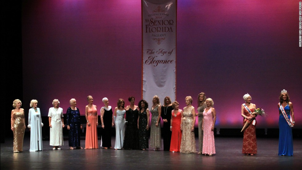 The 15 Ms. Senior Florida contestants stand on stage with Betsy Horn, Ms. Senior Florida 2013, second from right, and Carolyn Corlew, Ms. Senior America 2013, far right.