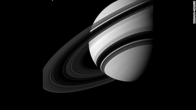 Tethys may not be tiny by normal standards, but when it is captured alongside Saturn, it can't help but seem pretty small.