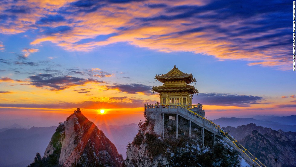 """The best place to capture the view of the temple and the pavilions like this one is from Ma Zong Ridge,"" says Khurram Zhang, a spokesperson of Laojun Mountain Nature Reserve. <br /><br />""Sunset is the best time to photograph Jin Dian (Golden Pavillion)."""