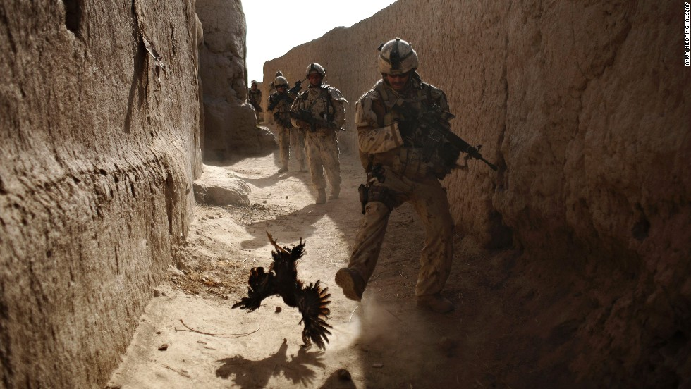 A Canadian soldier chases a chicken seconds before he and his unit were attacked by grenades during a patrol in Salavat, Afghanistan, in September 2010.