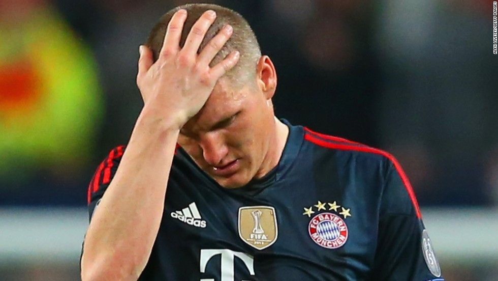 Bayern Munich Bastian Schweinsteiger scored against Manchester United before later being sent off.