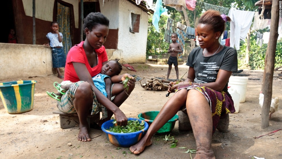 Saffiatu James, right, who lives in Bo, Sierra Leone, suffers from elephantiasis -- one of a number of Neglected Tropcial Diseases (NTDs) spread by parasitic worms.