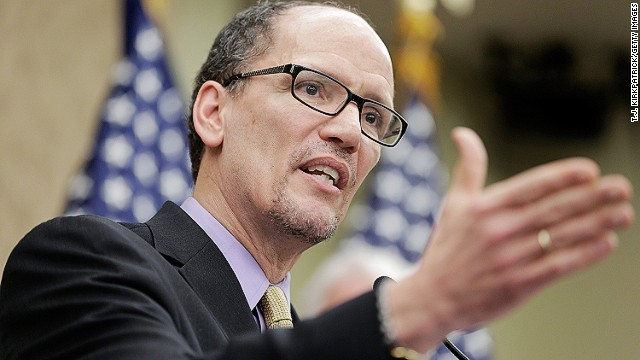 WASHINGTON, DC - APRIL 03: Secretary of Labor Thomas Perez speaks during a stop of the 'Give America a Raise' bus tour at the U.S. Capitol Building on April 3, 2014 in Washington, DC. Lawmakers and low-wage workers spoke about the challenge of living on minimum wage and the potential economy-wide benefits of an increase of the Federal Minimum Wage to $10.10. (Photo by T.J. Kirkpatrick/Getty Images)