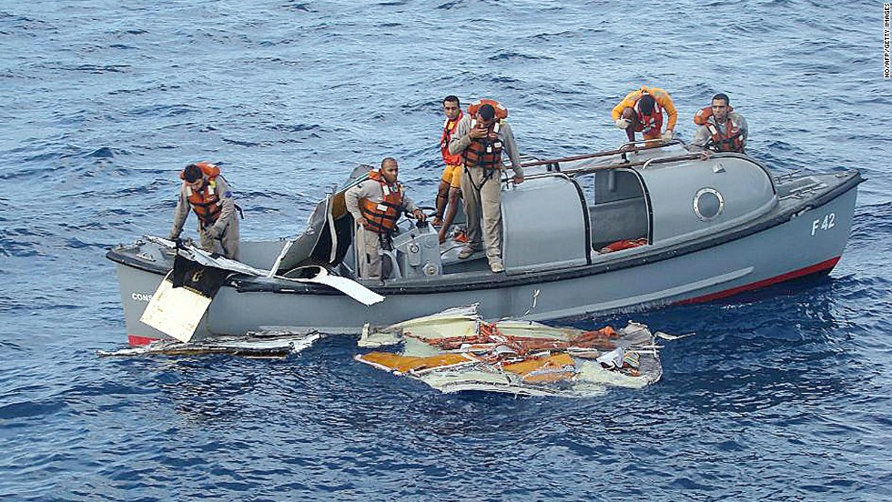 Air France Flight 447 plunged into the South Atlantic in 2009, killing 228 people. It took about two years for investigators to find the wreckage in a mountain range on the ocean floor. Boats from the Brazilian frigate Constituicao helped recover debris in one search operation that also recovered five bodies.