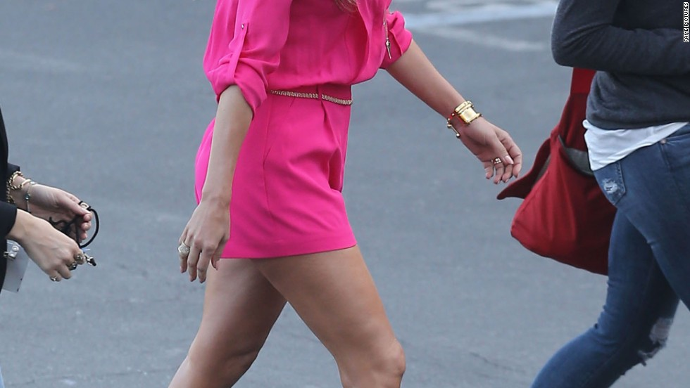 "Jennifer Lopez is hard to miss on her way to an ""American Idol"" taping on April 3."