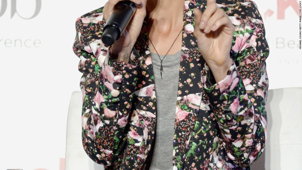 Nicole Richie is ready for spring with pastel hair and a floral-print jacket at a blog conference on April 4.