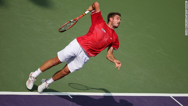 Stanislas Wawrinka, seen here at the Miami Masters, fell to defeat in the opening match of Switzerland's Davis Cup quarterfinal.