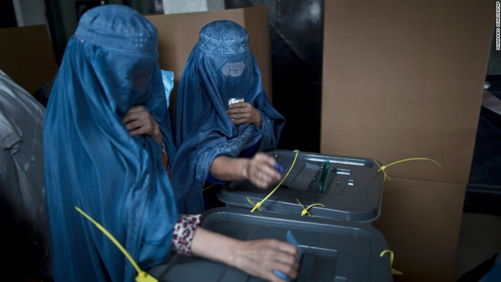 Women cast their ballots at a polling station in Kabul.
