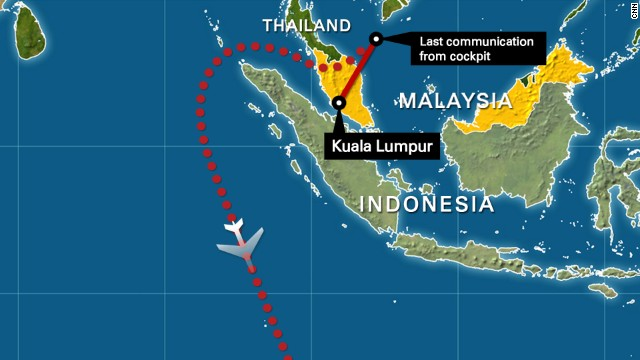 Malaysia flight MH370 map