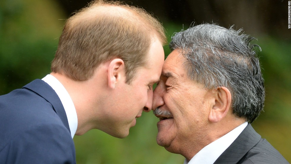 Prince William also receives a hongi from a Maori elder.