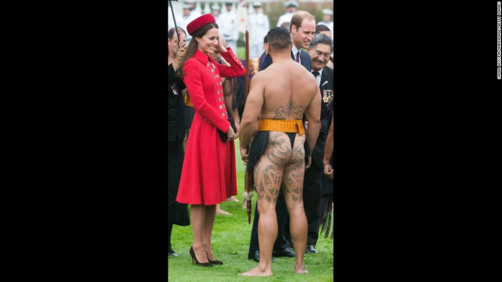 Catherine talks with a Maori warrior during the welcoming ceremony at Government House.
