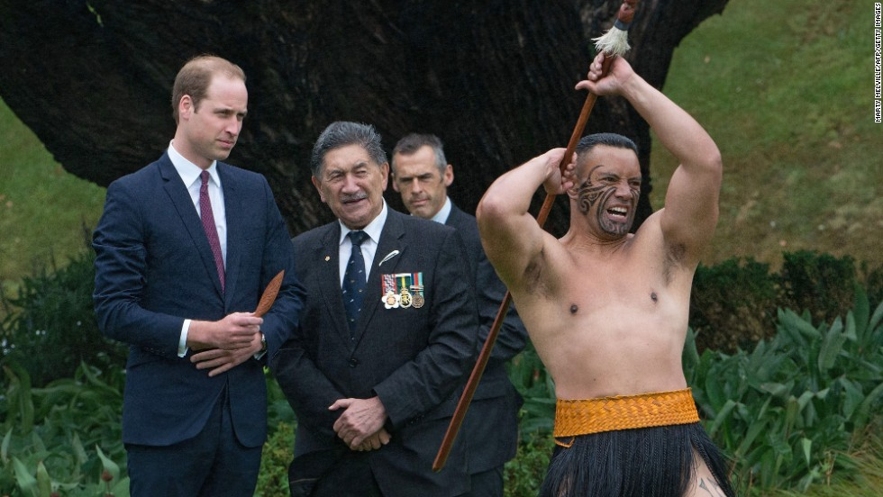 A Maori warrior performs during the welcoming ceremony.
