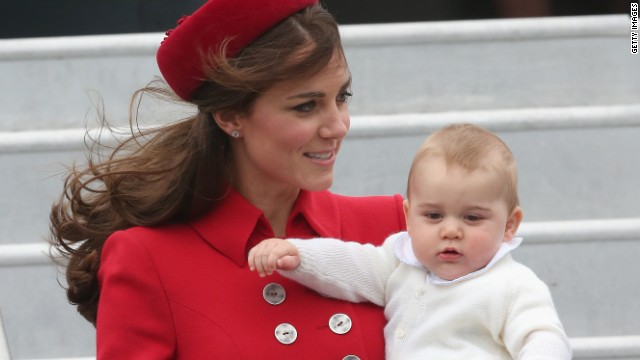 Catherine, Duchess of Cambridge and Prince George of Cambridge arrive in Wellington, New Zealand on April 7.