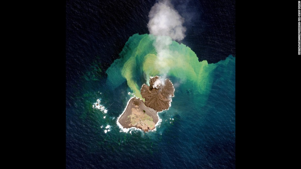 This satellite image of volcanic activity, collected on December 31, 2014 shows Niijima merging with Nishinoshima.