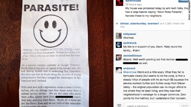 Kevin Rose posted this Instagram picture of a flier protesters distributed outside his home on Sunday.