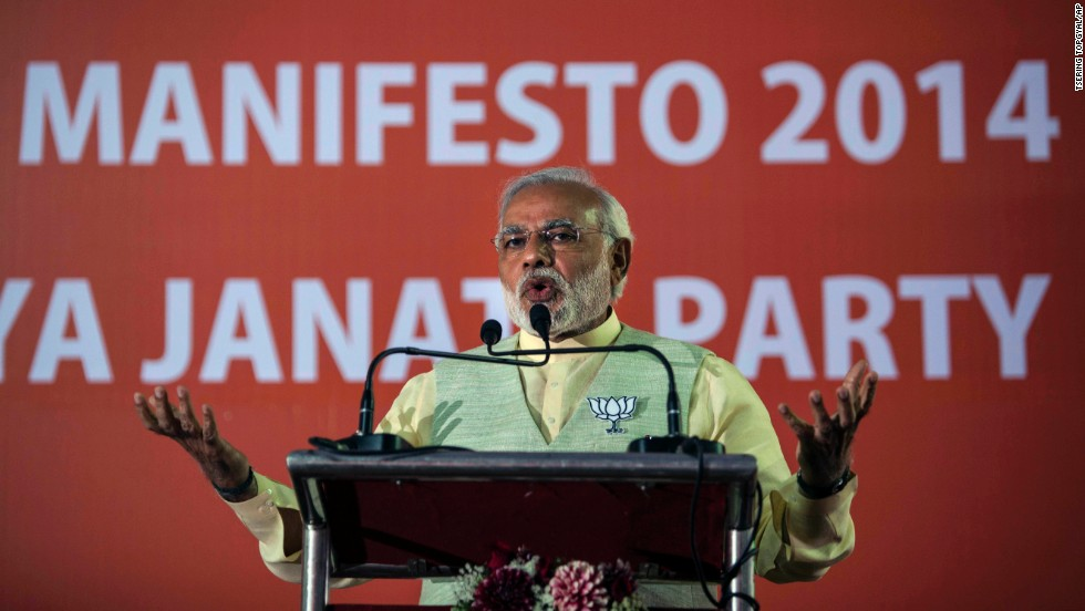 "Running against Gandhi is Narendra Modi, chief minister of the western state of Gujarat with a reputation as a tough, ""can-do"" administrator."