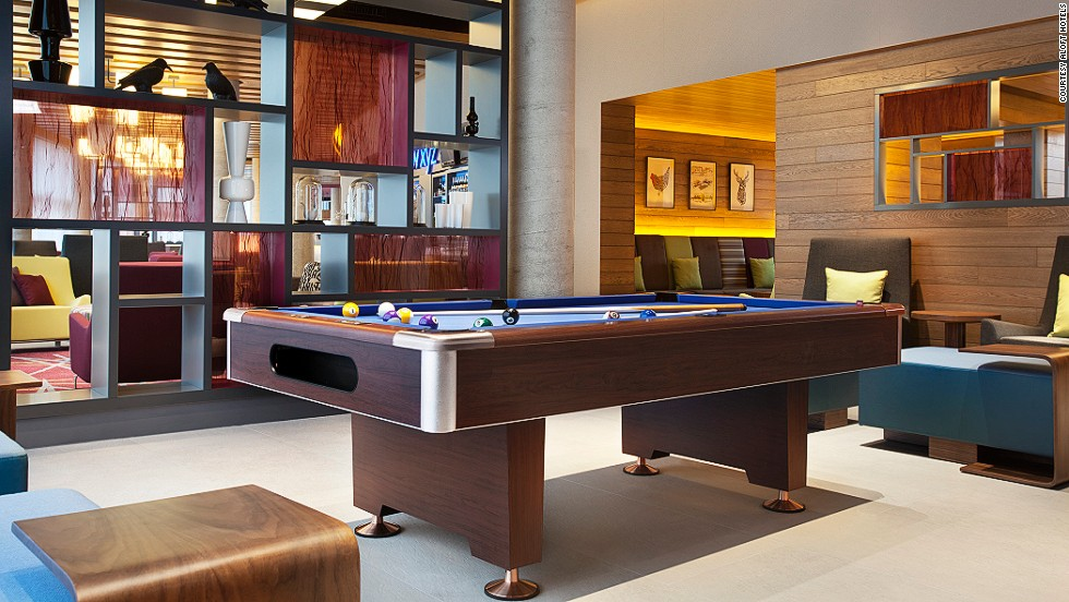 Like many contemporary-minded hotels, the Aloft brand has put a heavy emphasis on its communal spaces. The lobbies (dubbed the re:mix Lounge) are often outfitted with pool tables, board games, LCD screens, and various other features aimed at getting guests mingling. It was also recently announced that guests can use their mobile phone both to check-in, and in place of a room key. There are currently 80 Alofts in operation, with another 20 planned.