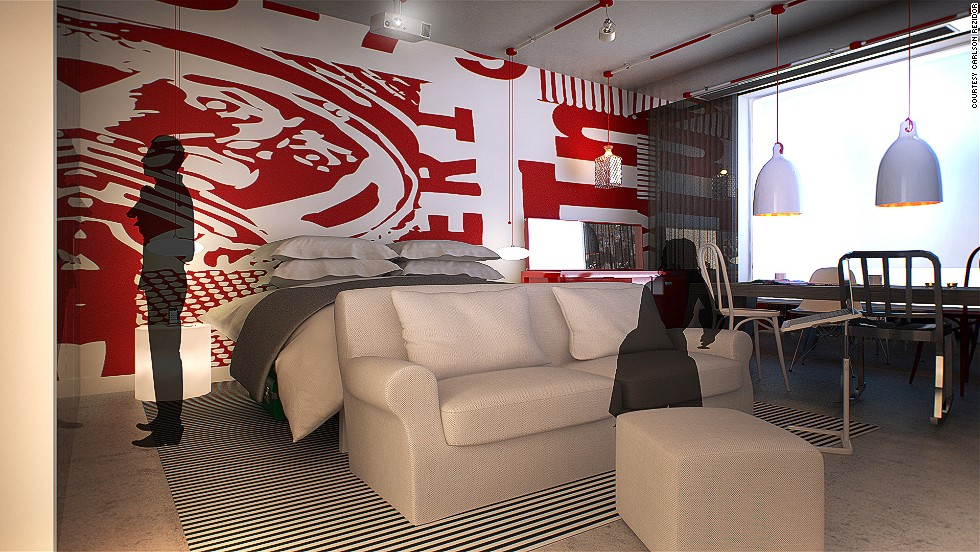 Radisson Red, which is slated to have its first opening next year, is striving to make its guest rooms feel like mini-studios, eschewing more irrelevant furnishings, like a traditional desk and one-person armchair, with more communal offerings -- such as a sofa and four-person table.