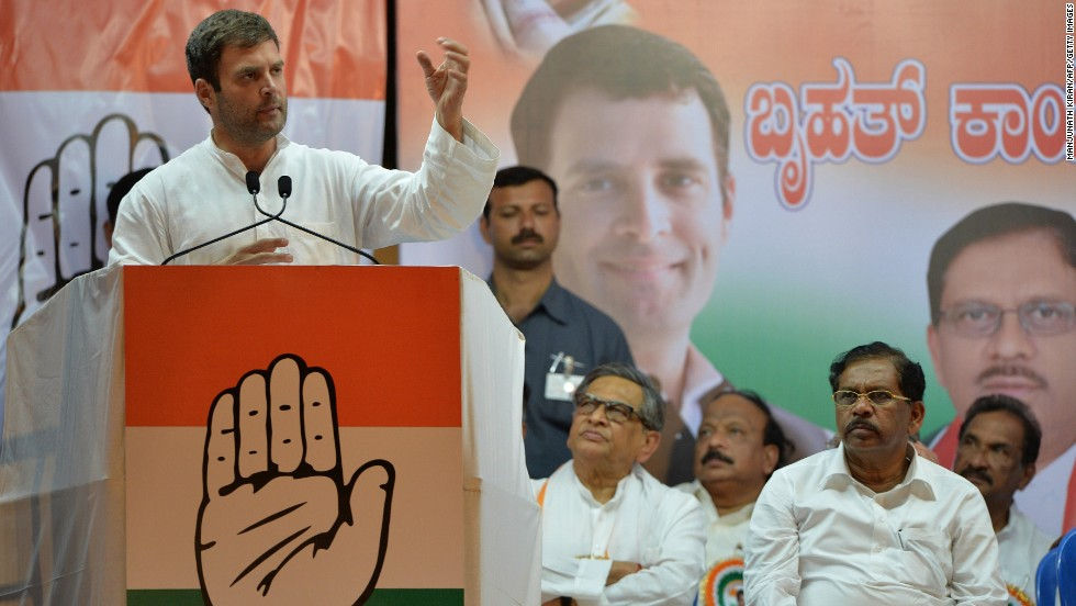 Rahul Gandhi addresses supporters during an election rally in Bangalore, India, on April 7. Gandhi's great-grandfather, grandmother and father have all served as prime minister.