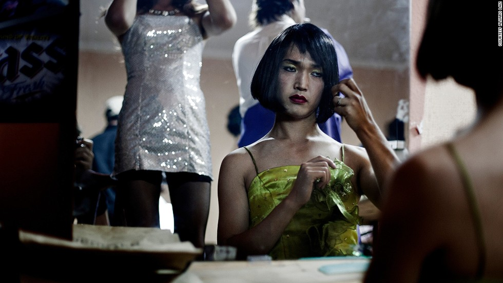 "For transgender people in Ulaanbaatar, life goes on behind closed doors. The only places where they can safely express themselves are underground clubs and private parties, some of which Laiz was fortunate enough to be invited to:"" Actually, I have to say they organize the best parties in the city,"" he points out. Here Nurbul, a professional dancer, prepares herself for a private show at a gay party in Ulaanbaatar."