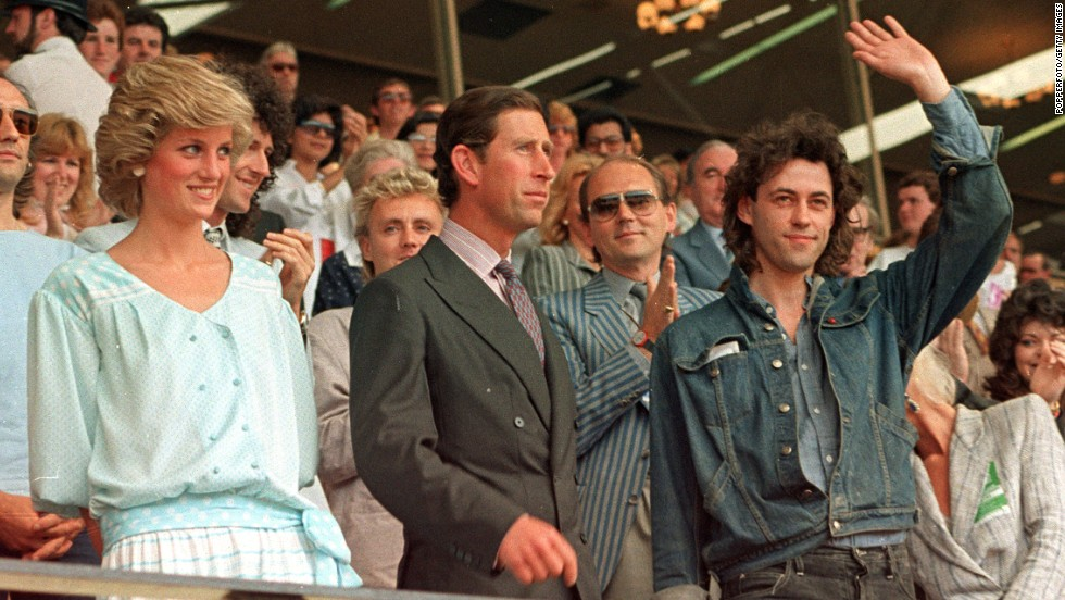 "The Prince and Princess of Wales are pictured with Bob Geldof at the ""Feed the World"" Live Aid concert at Wembley Stadium in 1985."
