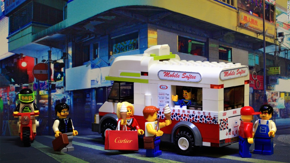 "Legography creator Ric Tse's ""Sweet Memories"" features a Lego van covered in signs and menus from a photo he took of an actual Hong Kong Mister Softee truck. Locals have a soft spot for these moving ice cream purveyors, which have been around since the 1970s."