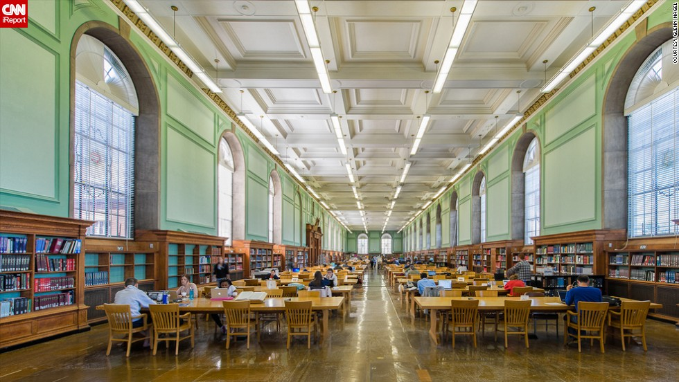 "In honor of National Library Week, CNN iReport asked photographers, architecture aficionados and book lovers to share photos of their most favorite libraries such as this photograph of the<a href=""http://www.library.illinois.edu"" target=""_blank""> University Library</a> at the University of Illinois at Urbana-Champaign by <a href=""http://ireport.cnn.com/people/gnagel"">Glenn Nagel</a>. The library was founded in 1867 and actually predates the university. Today, the University Library holds more than 13 million volumes and is known for allowing all members of the community to view its collection onsite."