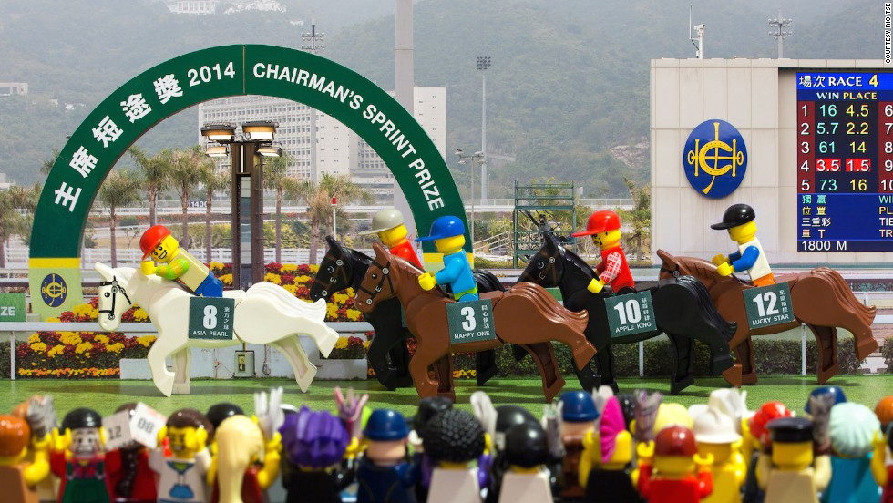 "In ""Victory!"" Tse commemorates the Chairman's Sprint Prize, an annual horse race at Hong Kong's Sha Tin Racecourse. The freelance photographer says he has about 80 different Lego ""minifigures"" he uses in his work."