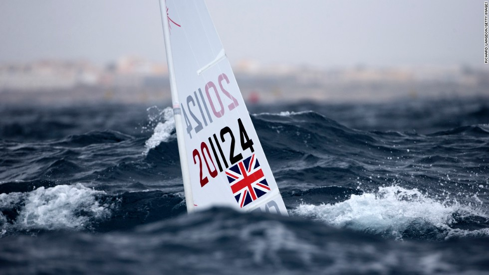 Sailor Chloe Martin is hidden by the waves in this image from the ISAF Sailing World Cup on Thursday, April 3.