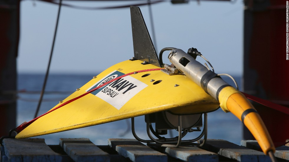 A towed pinger locator is readied to be deployed off the deck of the Australian vessel Ocean Shield on April 7, 2014.