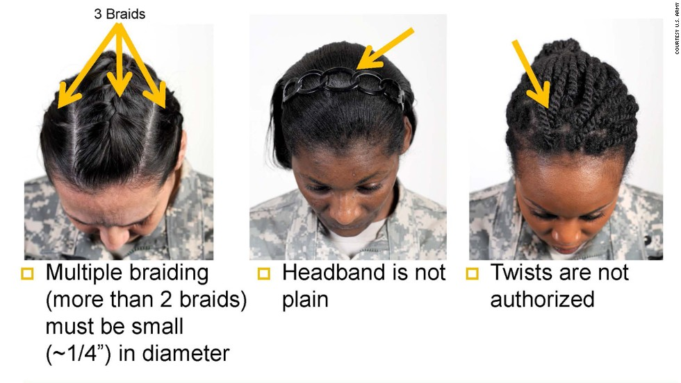 The Army's guidelines include restrictions on braid  and cornrow widths and a ban on twists and dreadlocks.