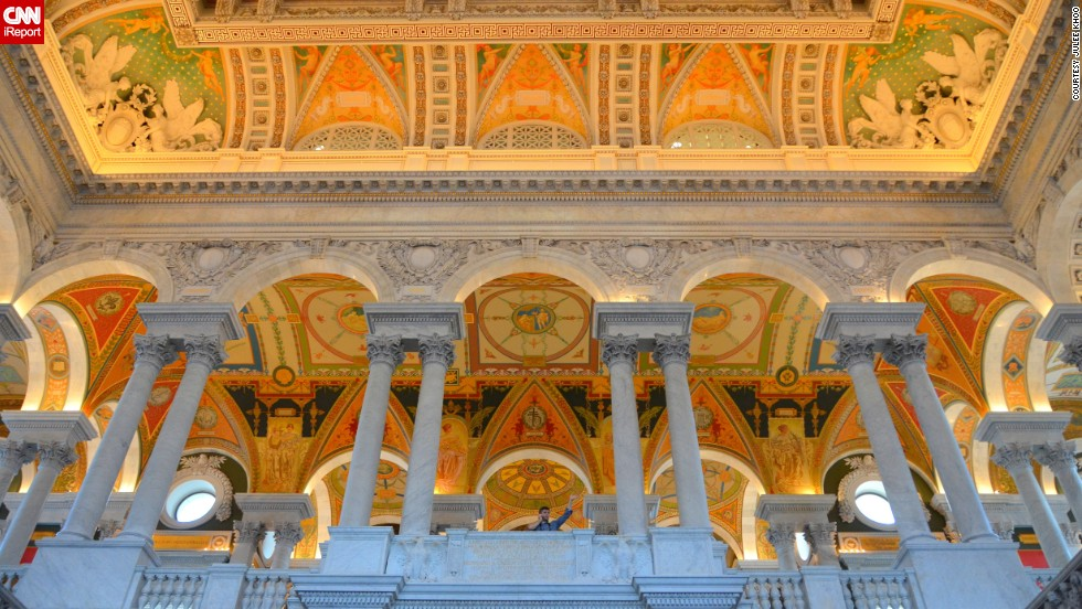 "<a href=""http://ireport.cnn.com/docs/DOC-1115299"">Julee Khoo </a>says visiting the <a href=""http://www.loc.gov"" target=""_blank"">Library of Congress</a> is a must if you're planning a trip to Washington. ""Call me biased, but I think this is one of the most impressive libraries in the world."" It's actually the largest library in the world, holding more that 158 million items that include over 36 million cataloged books and print materials in 470 languages."