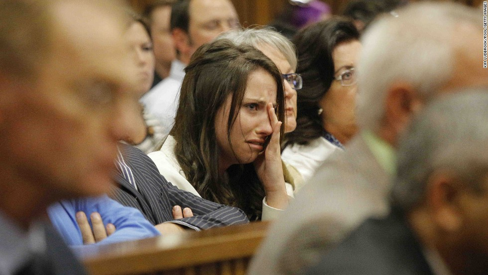Pistorius' sister, Aimee, cries in court as she listens to her brother's testimony on Tuesday, April 8.