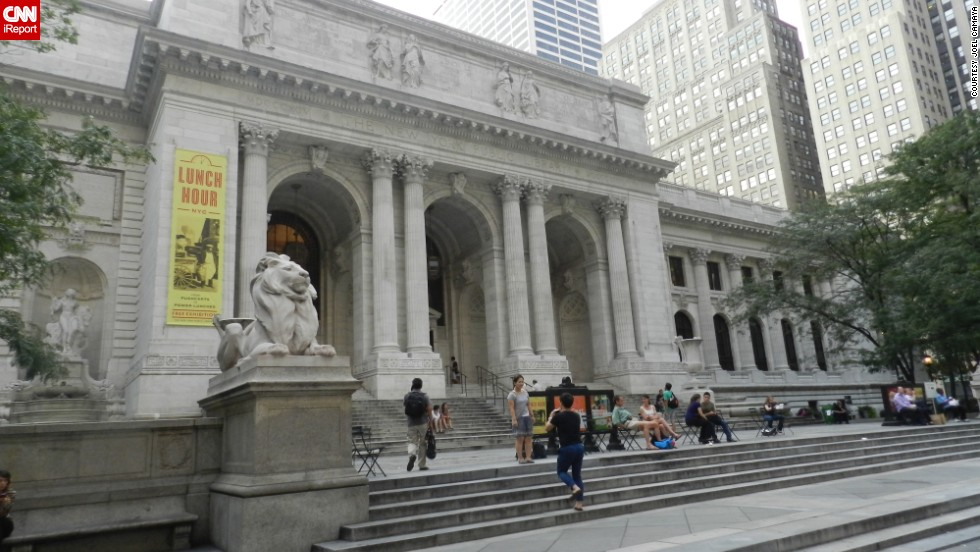 "<a href=""http://ireport.cnn.com/docs/DOC-1116832"">Joel Camaya</a>, a Catholic priest living in Rome, describes the <a href=""http://www.nypl.org"" target=""_blank"">New York Public Library's</a> Stephen A. Schwarzman Building as ""a quiet spot in busy Manhattan<a href=""http://ireport.cnn.com/docs/DOC-1116832"">.</a>"""