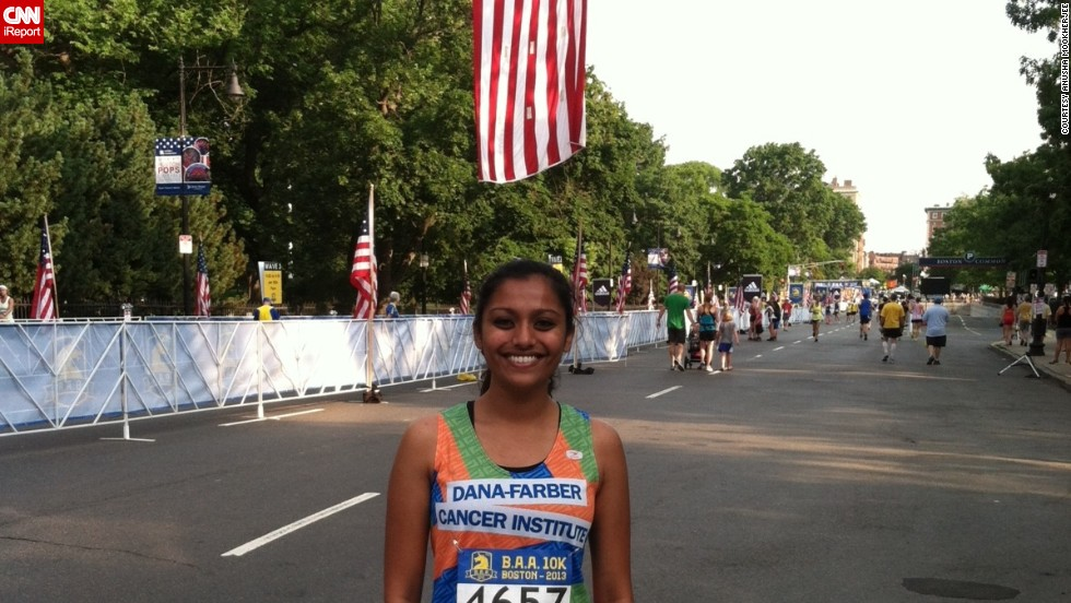 """CNN <a href=""""http://ireport.cnn.com/group/runforboston"""">asked our iReporters</a> to pledge to run a marathon, or shorter race, before the 1-year anniversary of the Boston Marathon Bombing. """"The bombings reminded so many of us why we enjoy running, and that these violent acts can't shake and define a city like Boston,"""" said <a href=""""http://ireport.cnn.com/docs/DOC-1118086 """">Anusha Mookherjee</a>, who grew up in Newton, Massachusetts, a suburb of Boston. She was inspired to run the Boston Athletic Association 10K -- her first road race -- and a half-marathon. She continues to run three times a week."""