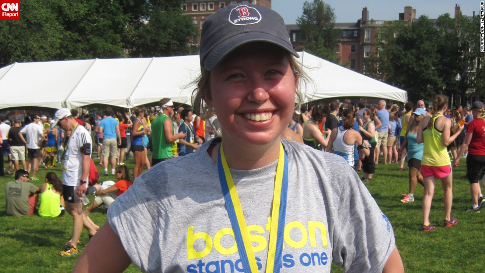 """""""I wanted to run for those that can't run anymore,"""" said Boston resident <a href=""""http://ireport.cnn.com/docs/DOC-1063995 """">Ashley Seymour</a>. She was standing near the Boston Marathon finish line when the first bomb went off. She had been a runner all her life, but hadn't done a race since tearing her ACL in 2011. Running became part of her emotional healing process. Since the bombings, she has run a 10K and a half-marathon."""