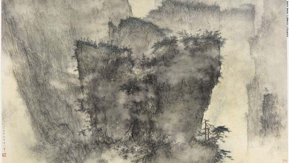 "Ink and color work on paper ""A Gathering of Pines and Clouds"" by Li Huayi went under the hammer at $405,000."