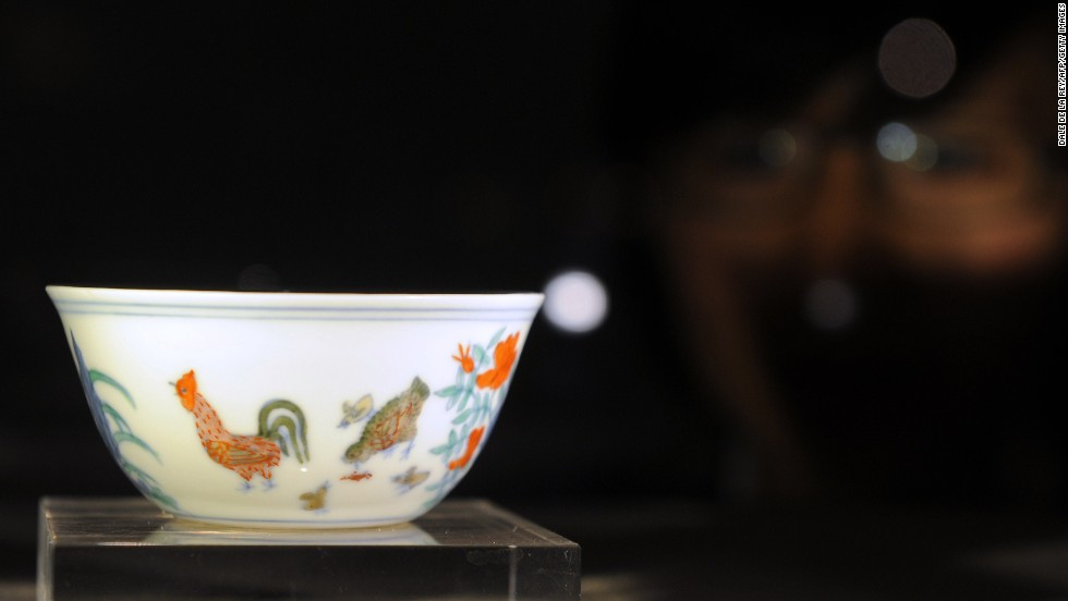 """The theme of the chicken, this is a cock and hen looking after their little chicks, and so that's a kind of Confucian parable of the emperor looking after his subjects,"" Chow explains. ""But they are very small, very tactile and the glaze on these little cups is incredibly silky...very few survived from the period."" <br />"