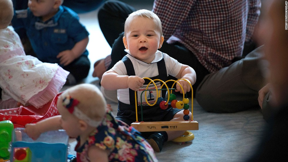 Prince George joins in the fun at Government House in Wellington on April 9.