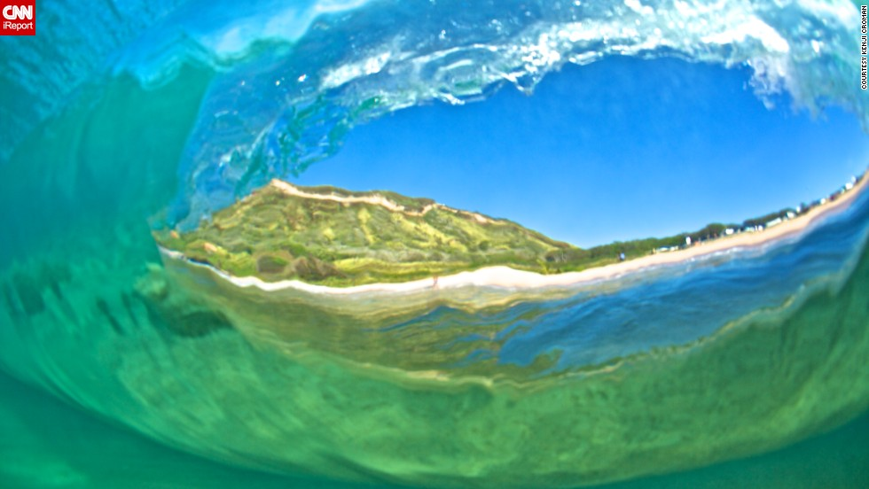 """""""This is a shot from the back of a wave as it passes me"""" at Sandy Beach."""