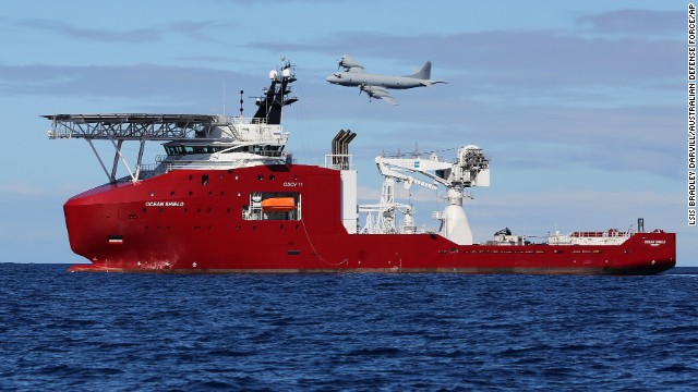 In this April 9, 2014 photo provided by the Australian Defense Force, a Royal Australian Air Force AP-3C Orion flies past Australian Defense vessel Ocean Shield on a mission to drop sonar buoys to assist in the acoustic search of the missing Malaysia Airlines Flight 370 in the southern Indian Ocean. The ship searching for the missing Malaysian jet has detected two more underwater signals that may be emanating from the aircraft's black boxes, and the Australian official in charge of the search expressed hope Wednesday that the plane's wreckage will soon be found. (AP Photo/LSIS Bradley Darvill/Australian Defense Force/AP, LSIS Bradley Darvill) EDITORIAL USE ONLY
