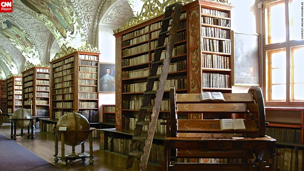 "The theological hall library at <a href=""http://www.strahovskyklaster.cz/webmagazine/home.asp?idk=257"" target=""_blank"">Strahov Monastery</a> in Prague ""is visually stunning and in great condition,"" <a href=""http://ireport.cnn.com/docs/DOC-1116515"">Anusha Mookherjee</a> said. She visited the monastery while on a family trip to the Czech Republic with her family. ""It is a historical site and has a lot of well-known books preserved,"" she said. ""You cannot touch any of the books."""