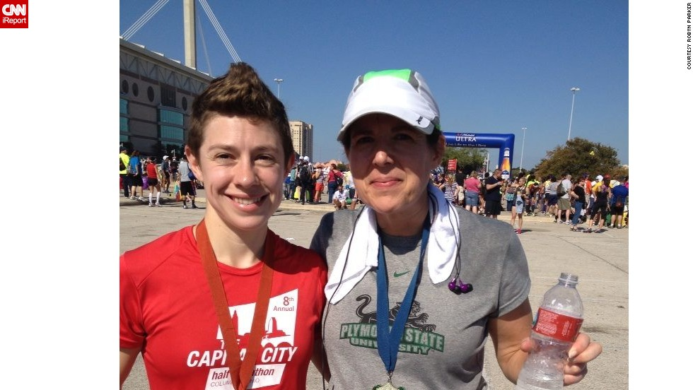 """""""I wanted to do something after the bombings, but didn't know what I could do,"""" said runner <a href=""""http://ireport.cnn.com/docs/DOC-1064809"""">Robyn Parker</a>, right, of New Hampshire. She was inspired to break her every-other-year marathon schedule. She ran the Rock 'n' Roll San Antonio Marathon in November alongside her daughter, Meredith."""
