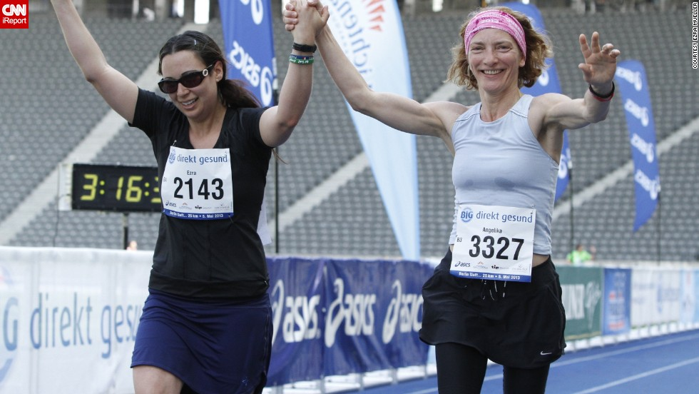 """""""I am still not a strong runner, but I knew I had to finish this race to honor all the people affected by the Boston tragedy,"""" said <a href=""""http://ireport.cnn.com/docs/DOC-1071176"""">Ezra Mueller</a>, right, who ran the 25 kilometer """"Big Berlin"""" race in Germany in May with a """"Run for Boston"""" on her back. """"With the support of the other runners loudly cheering me on. I dragged myself across the finish."""""""