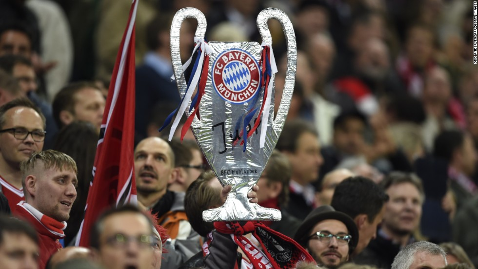 Bayern Munich supporters packed into the Allianz Arena to watch their side take on Manchester United. The two teams drew 1-1 in the first leg of their Champions League tie at Old Trafford.
