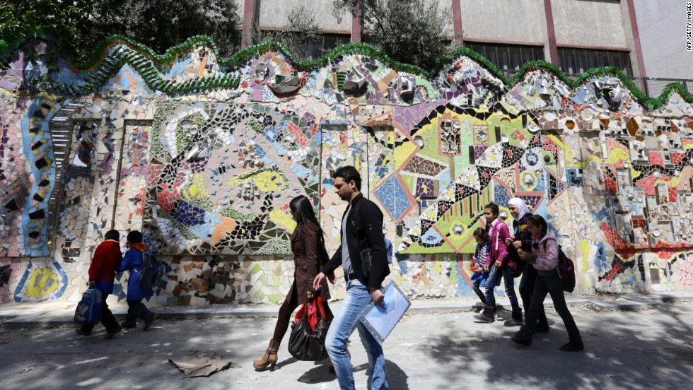 The mural, located in an upscale neighborhood in Damascus, was completed in January 2014, two months before the third anniversary of the Syrian conflict.