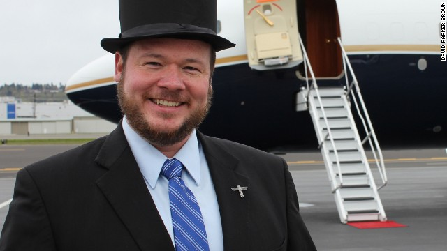 David Parker Brown, a longtime aviation geek, likes to wear a top hat before flights he's especially excited about.