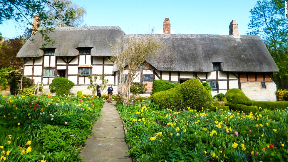 Tea rooms serve cream-loaded scones as big as burgers and ale is pumped in 600-year-old pubs. Anne Hathaway's Cottage (pictured) is a fairy tale-like country house.