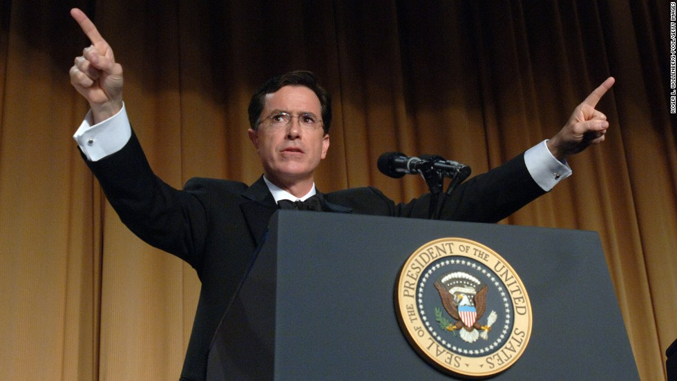 "Colbert earned praise -- and notoriety -- for <a href=""https://www.youtube.com/watch?v=U7FTF4Oz4dI"" target=""_blank"">his hosting of the 2006 White House Correspondents Dinner</a>. In character, his barbs about President George W. Bush and the political news media drew blood."