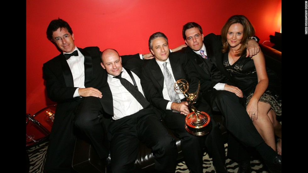 "Colbert's work on ""The Daily Show"" contributed to a number of awards -- including several Emmys. He poses here with, left to right,  Rob Corddry, host Jon Stewart, Ed Helms and Samantha Bee."